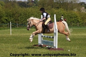Antonia Oxford riding Blondie
