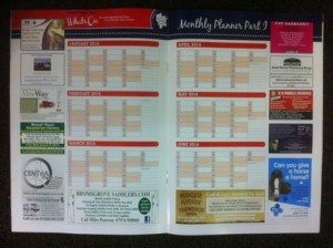 CHN 2014 Wall Planner part 1 for Central Horse News