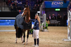Horses and riders in the main arena after being evacuated during The Liverpool International Horse Show at the Liverpool Echo arena in Liverpool in the county of Lancashire in the UK on 30th December 2017