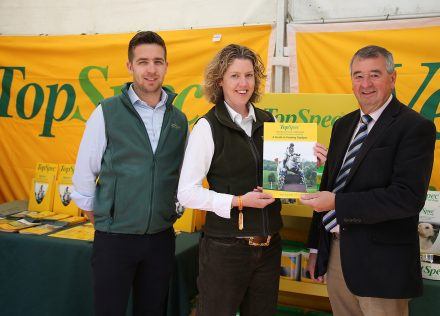 Chris Williamson and Katy Mickle of TopSpec with Ray Buchanan of Showjumping Ireland