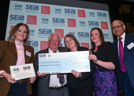 BHS were the winners of the first SEIB Insurance Brokers Charity Awards; the award and the £50,000 cheque was awarded to Gemma Stanford and Emma Day from the BHS by Barry Fehler, Suzy Middleton and Bipin Thaker from SEIB at a lunch at the Grange City Hotel in London, UK on 23th April 2018